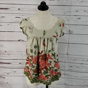 Fang green baby doll floral shirt